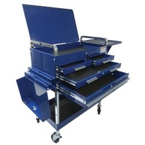 1984-1986 Ford Mustang Sunex Deluxe Service Cart With Locking Top, 4 Drawers and Extra Storage - Blue