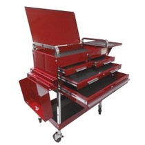 1984-1986 Ford Mustang Sunex Deluxe Service Cart With Locking Top, 4 Drawers and Extra Storage - Red