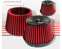 "1980-1987 Audi 4000 Tradesonic Air Filter - X-Tune 3"" Filter w/ Extra Net (Red)"