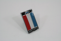 75-77 Camaro Trim Parts Restoration Part - Front Header Panel Emblem, Red, White & Blue, Includes Faseteners