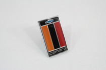 75-77 Camaro Trim Parts Restoration Part - Front Header Panel Emblem, Orange, Black & Red, Includes Faseteners