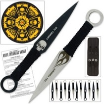 1967-1969 Chevrolet Camaro United Cutlery Fantasy Skull Dozen Knife Throwing Set With Board