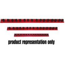 "2007-9999 Jeep Patriot Vim Products 12"" Red Magrail TL Magnetic Socket Holder, With 20 - 1/4"" Studs"