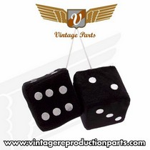 "2001-2004 Mazda Tribute Vintage Reproduction 3"" Fuzzy Dice w/ White Dots (Black)"