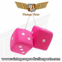 "1988-1996 Ford F250 Vintage Reproduction 3"" Fuzzy Dice w/ White Dots (Pink)"