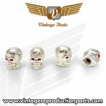 1974-1976 Mercury Cougar Vintage Reproduction Chrome Skull Valve Caps