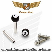 1966-1967 Ford Fairlane Vintage Reproduction 8 Ball 2 Valve Cap, Door Plunger, Plate Bolt Combo Kit