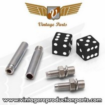 1995-1998 Mazda Protege Vintage Reproduction Dice Valve Cap, Door Plunger, Plate Bolt Combo Kit (Black)