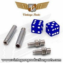 1976-1980 Plymouth Volare Vintage Reproduction Dice Valve Cap, Door Plunger, Plate Bolt Combo Kit (Blue)