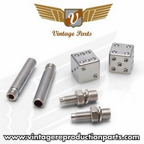 2008-9999 Audi A5 Vintage Reproduction Dice Valve Cap, Door Plunger, Plate Bolt Combo Kit (Chrome)