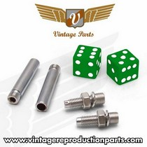 2002-9999 Mazda Truck Vintage Reproduction Dice Valve Cap, Door Plunger, Plate Bolt Combo Kit (Green)