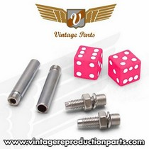 1976-1980 Plymouth Volare Vintage Reproduction Dice Valve Cap, Door Plunger, Plate Bolt Combo Kit (Pink)