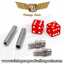 1976-1980 Plymouth Volare Vintage Reproduction Dice Valve Cap, Door Plunger, Plate Bolt Combo Kit (Red)