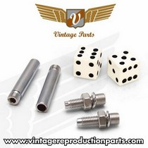 1976-1980 Plymouth Volare Vintage Reproduction Dice Valve Cap, Door Plunger, Plate Bolt Combo Kit (White)
