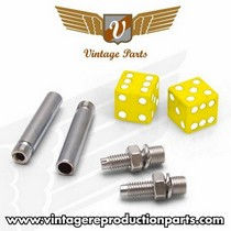 1976-1980 Plymouth Volare Vintage Reproduction Dice Valve Cap, Door Plunger, Plate Bolt Combo Kit (Yellow)