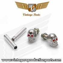 2008-9999 Audi A5 Vintage Reproduction Chrome Skull w/ Red Eyes Valve Cap, Door Plunger, Plate Bolt Combo Kit