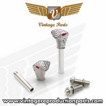 1995-1998 Mazda Protege Vintage Reproduction Chrome Cobra w/ Red Eyes Valve Cap, Door Plunger, Plate Bolt Combo Kit