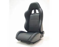2004-2005 Honda Civic Yonaka Racing Seats - Samurai Synthetic Leather (Black w/ Black Stitching)