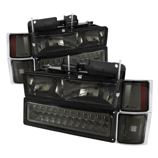92-99 Chevrolet Suburban Spyder Corner/LED Bumper Headlights (Smoke)