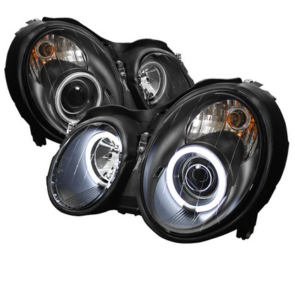 98-02 Mercedes Benz CLK Spyder CCFL Halo Projector Headlights (Black)