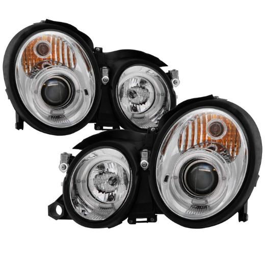 98-02 CLK  Spyder Halo Projector Headlights - Chrome