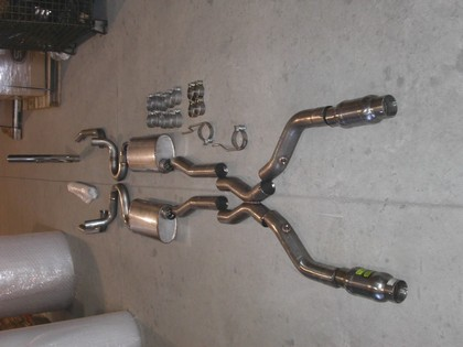 "03-04 Marauder 4.6L Stainless Works exhaust system.  Designed to work with Stainless Works headers part number ""MAUHDR"".  3"" header pipes with Metal Matrix cats, 3"" X-pipe, chambered turbo mufflers with 2 1/2"" tailpipes"