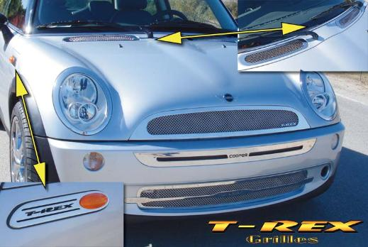 2005-2007 Mini Cooper T-Rex Upper Class Polished Stainless Mesh Grille Kit - Includes 2 Piece Grille, Hood Vents, Marker Badges & Bumper