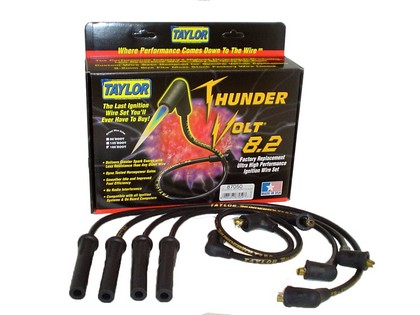 91-94 Isuzu Pick Up 3.1L 6 Cylinder Taylor Thundervolt Spark Plug Wires - 8.2mm Custom 6 Cyl Black