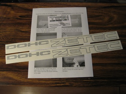 00-04 Ford Focus, SVT, 97-03 ZX2 TFB Designs DOHC ZETEC Decals - Dark Gray