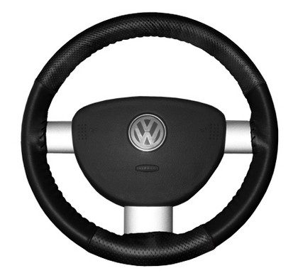 00-04 V40 Wheelskins Steering Wheel Cover - EuroPerf, Perforated Top & Bottom (Black)
