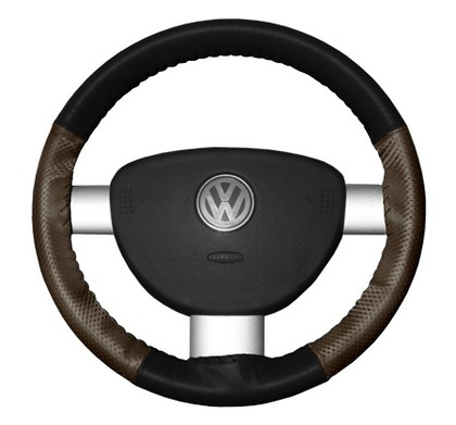94-02 Passport Wheelskins Steering Wheel Cover - EuroPerf, Perforated Sides (Black Top / Brown Sides)
