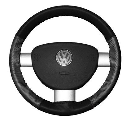 09-10 Genesis Wheelskins Steering Wheel Cover - EuroPerf, Perforated Sides (Black Top / Charcoal Sides)