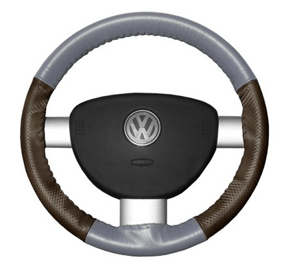 96-02 SL Wheelskins Steering Wheel Cover - EuroPerf, Perforated Sides (Grey Top / Brown Sides)