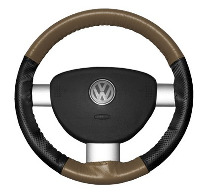 97-98 V90 Wheelskins Steering Wheel Cover - EuroPerf, Perforated Sides (Oak Top / Black Sides)