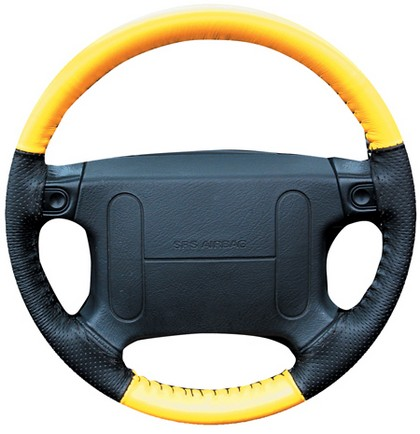 95-04 Stratus Wheelskins Steering Wheel Cover - EuroPerf, Perforated Sides (Yellow Top / Black Sides)