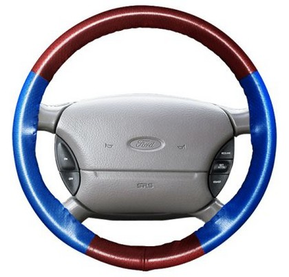 05-06 Stratus Wheelskins Steering Wheel Cover - EuroPerf, Perforated All Around (Burgundy Top / Cobalt Sides)