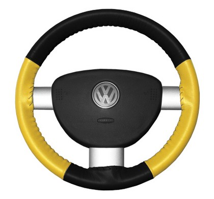 95-04 Stratus Wheelskins Steering Wheel Cover - Eurotone (Black Top / Yellow Sides)