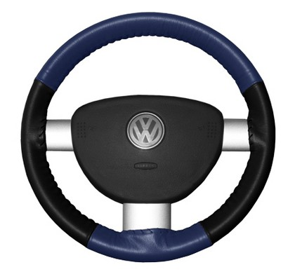 97-02 Tiburon Wheelskins Steering Wheel Cover - Eurotone (Blue Top / Black Sides)