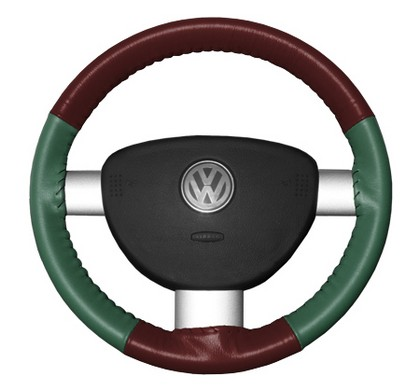 97-01 Catera Wheelskins Steering Wheel Cover - Eurotone (Burgundy Top / Green Sides)