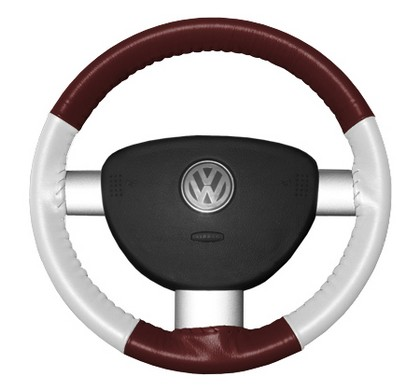 03-07 Rainer Wheelskins Steering Wheel Cover - Eurotone (Burgundy Top / White Sides)