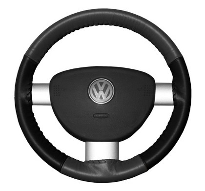 94-01 LHS Wheelskins Steering Wheel Cover - Eurotone (Charcoal Top / Black Sides