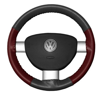 97-02 Tiburon Wheelskins Steering Wheel Cover - Eurotone (Charcoal Top / Burgundy Sides)