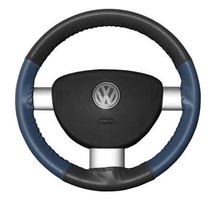 02-08 X-Type Wheelskins Steering Wheel Cover - Eurotone (Charcoal Top / Sea Blue Sides)