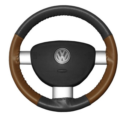 02-08 X-Type Wheelskins Steering Wheel Cover - Eurotone (Charcoal Top / Tan Sides)