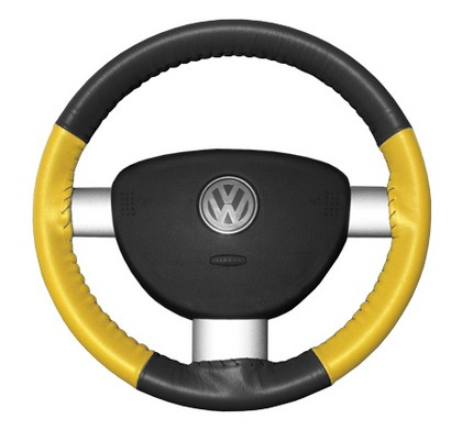 96-02 SL Wheelskins Steering Wheel Cover - Eurotone (Charcoal Top / Yellow Sides)