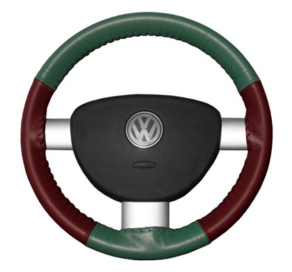 94-01 LHS Wheelskins Steering Wheel Cover - Eurotone (Green Top / Burgundy Sides)