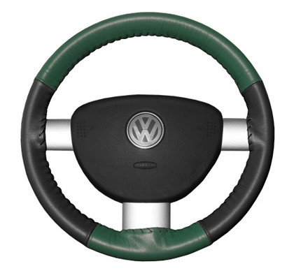97-98 V90 Wheelskins Steering Wheel Cover - Eurotone (Green Top / Charcoal Sides)