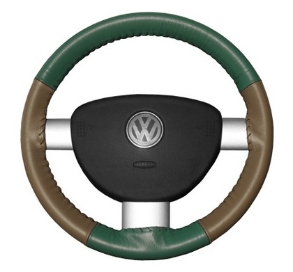 02-08 X-Type Wheelskins Steering Wheel Cover - Eurotone (Green Top / Oak Sides)