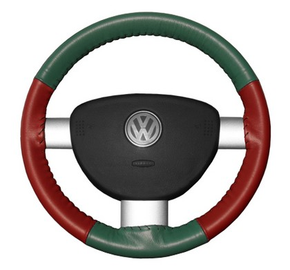98-04 Tracker Wheelskins Steering Wheel Cover - Eurotone (Green Top / Red Sides)
