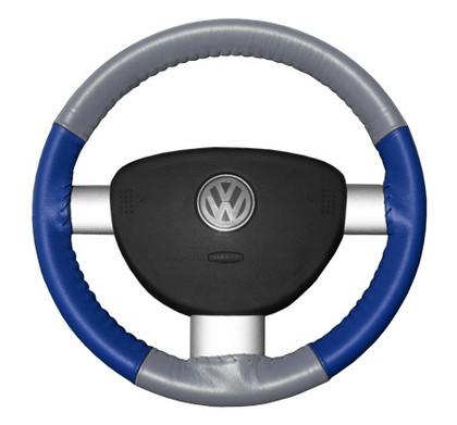 02-08 X-Type Wheelskins Steering Wheel Cover - Eurotone (Grey Top / Cobalt Sides)
